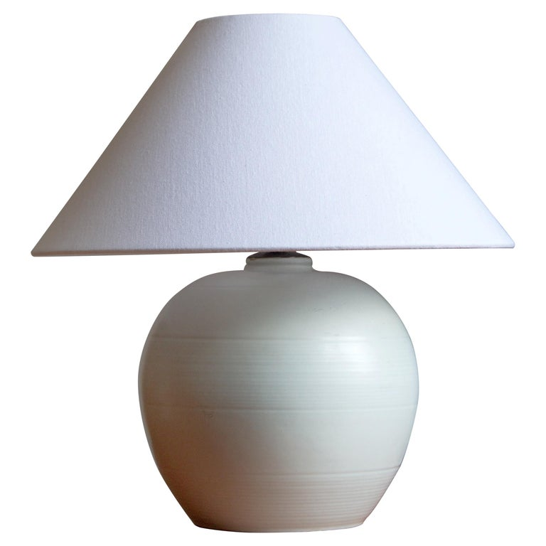 Upsala-Ekeby, Table Lamp, Glazed Earthenware, Sweden, 1930s For Sale