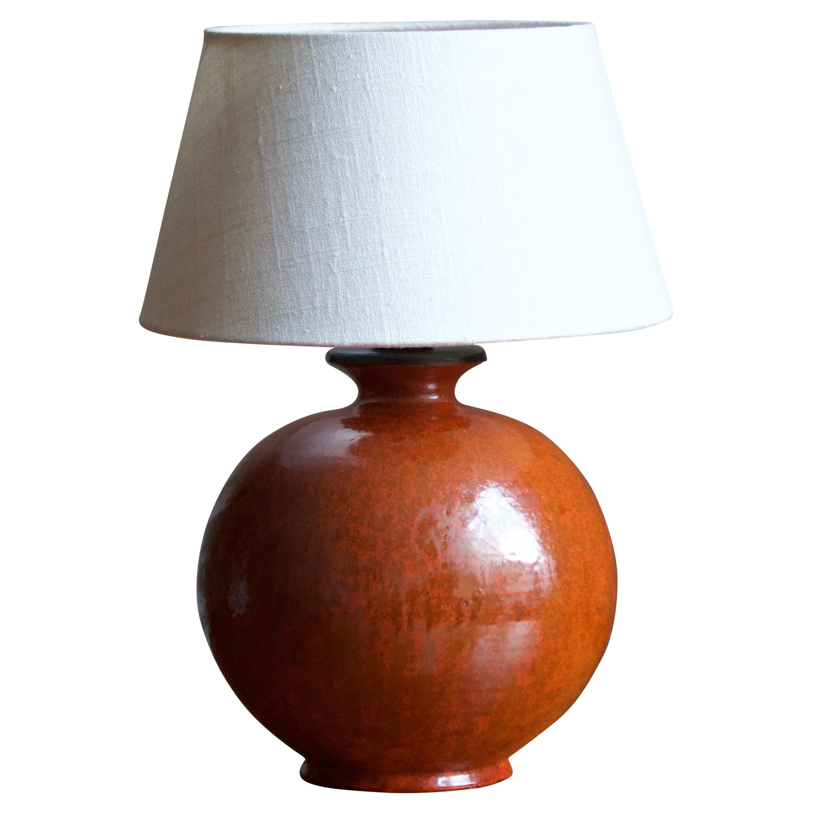 Upsala-Ekeby, Table Lamp, Glazed Earthenware, Sweden, 1930s
