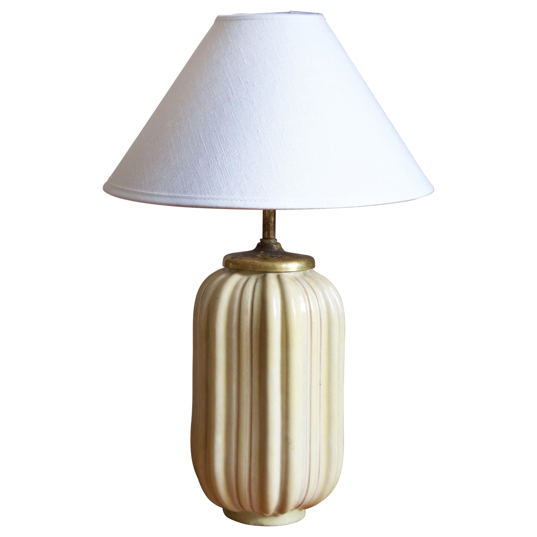 Upsala-Ekeby, Table lamp, Glazed Stoneware, Brass, Sweden, 1930s
