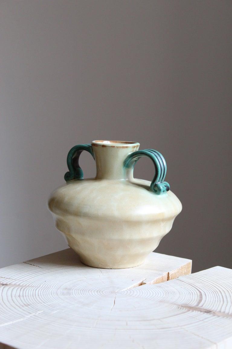 Art Deco Upsala-Ekeby, Vase, Glazed Stoneware, Sweden, 1940s For Sale