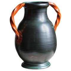 Upsala-Ekeby, Vase / Vessel, Orange and Green Glazed Stoneware, Sweden, 1930s