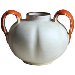 Upsala-Ekeby, Vase / Vessel, Orange and Grey Glaze Stoneware, Sweden, 1930s