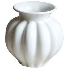 Upsala-Ekeby, Vase, White-Glazed Stoneware, Sweden, 1930s