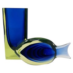 Uranium Glass Vase and Fish Sculpture by Antonio da Ros for Cenedese, 1960s