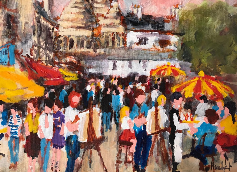 """""""Montmartre"""" - Brown Figurative Painting by Urbain Huchet"""