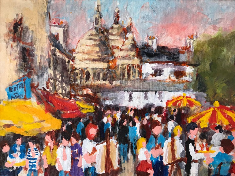 Here for you consideration is a colorful oil on canvas painting by the well known French artist, Urbain Huchet.  Signed lower right and titled verso. In very good original condition.  The Place de Tertre In Montmartre is the setting for this