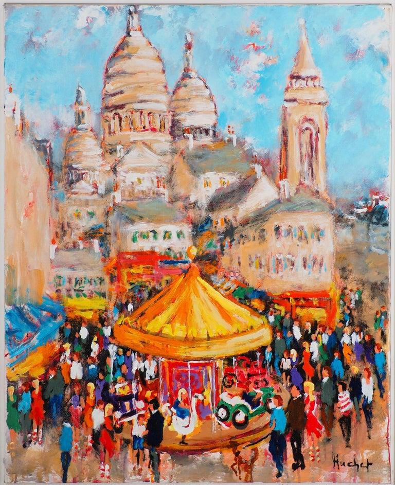Paris : Fun Fair in Montmartre (Sacre Coeur) - Tall Oil on Canvas - Signed - Painting by Urbain Huchet