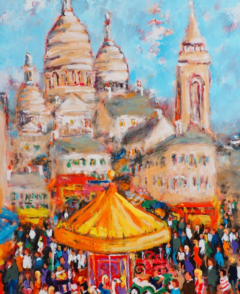Paris : Fun Fair in Montmartre (Sacre Coeur) - Tall Oil on Canvas - Signed - Post-Impressionist Painting by Urbain Huchet