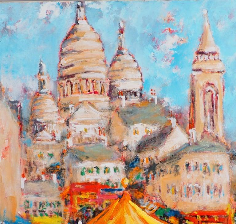 Paris : Fun Fair in Montmartre (Sacre Coeur) - Tall Oil on Canvas - Signed - Gray Landscape Painting by Urbain Huchet