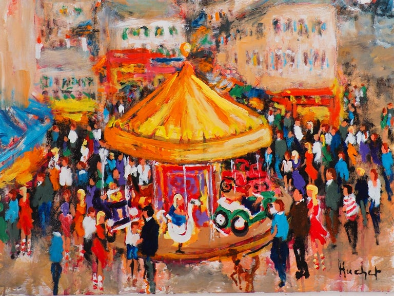 Urbain HUCHET Paris : Fun Fair in Montmartre (Sacre Coeur)  Original oil on canvas Signed bottom right Titled on the back On canvas 81 x 65 cm (c. 32 x 26 in) Presented in wood frame 99 x 83 cm (c 40 x 34 in)  Excellent condition, minor defects to