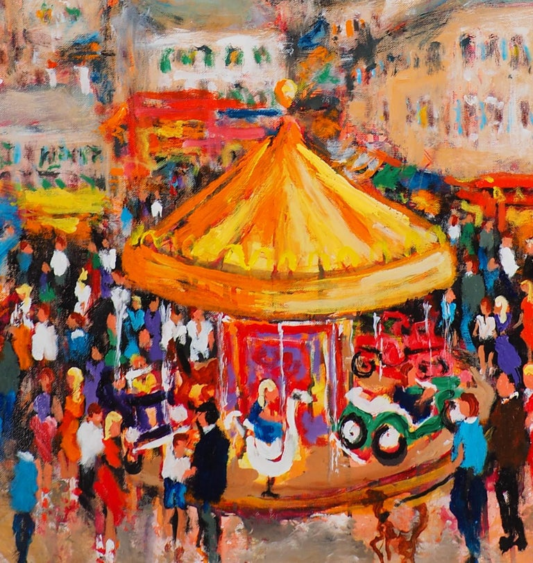 Paris : Fun Fair in Montmartre (Sacre Coeur) - Tall Oil on Canvas - Signed For Sale 1