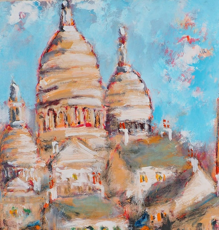 Paris : Fun Fair in Montmartre (Sacre Coeur) - Tall Oil on Canvas - Signed For Sale 2