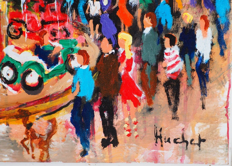Paris : Fun Fair in Montmartre (Sacre Coeur) - Tall Oil on Canvas - Signed For Sale 3