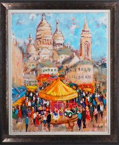 Paris : Fun Fair in Montmartre (Sacre Coeur) - Tall Oil on Canvas - Signed