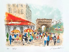 ARC DE TRIOMPHE Signed Lithograph, French Cafe Bistro Umbrella, Champs Elysees
