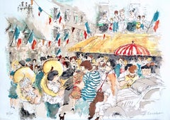 BASTILLE DAY PARIS Signed Lithograph, French Street Celebration, Brass Band
