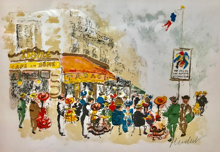 "Urbain Huchet Figurative Print - ""Cafe du Dome, Paris"""