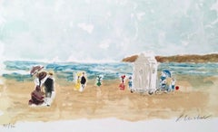 Dimanche a Deauville, Limited Edition Lithograph, Urbain Huchet
