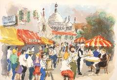 Montmartre : Place du Tertre and Sacre Coeur - Original Lithograph Handsigned