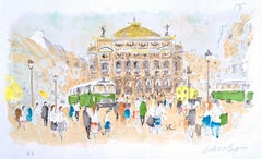 PARIS OPERA HOUSE Signed Lithograph, Iconic French Architecture, Green Bus Paris