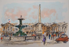 Paris : Concorde Square and American Embassy - Original Lithograph Handsigned