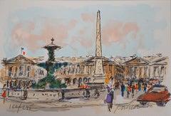 Paris : Concorde Square and American Embassy - Original Lithograph Handsigned
