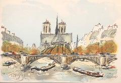 Paris, Notre Dame de Paris and Seine River - Original Lithograph Handsigned & N°