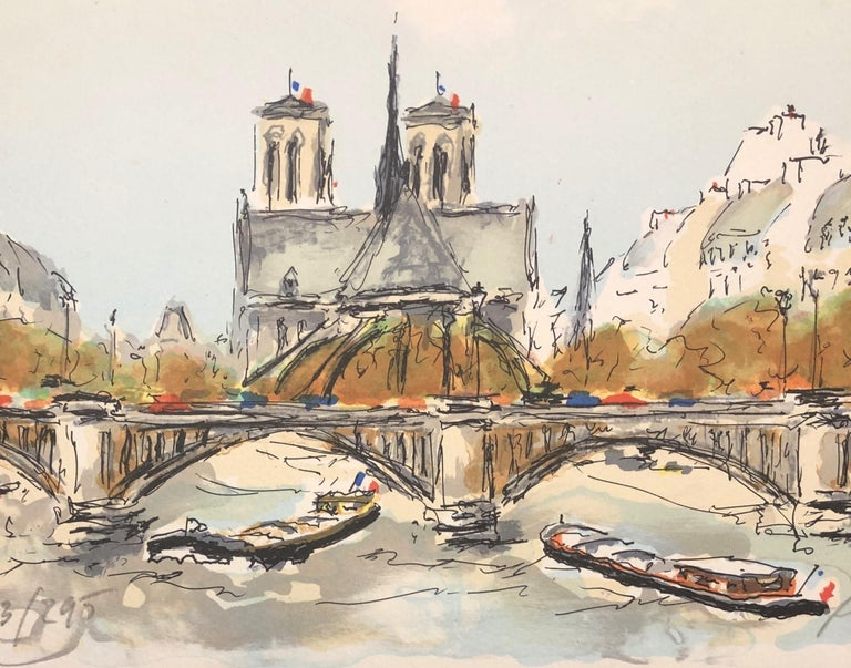 Paris - Notre Dame de Paris - Original Lithograph Handsigned N° - Print by Urbain Huchet