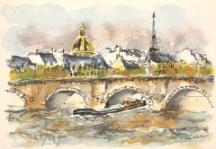 Paris : Seine and Eiffel Tower - Original Lithograph, Handsigned and numbered