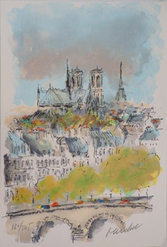 Roofs of Paris and Notre Dame - Original Lithograph Handsigned