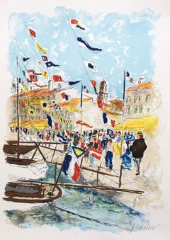 Saint Tropez French Riviera - Original Lithograph Handisgned and numbered