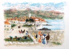 View of Antibes French Riviera - Original Lithograph Handisgned and numbered