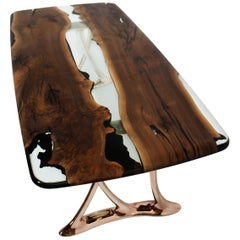 Urbane 220 Epoxy Resin Dining Table Sand Casted Aluminum Rose Gold B