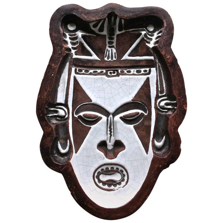 Urbano Zaccagnini Ceramic 'Tribal' Mask Bowl For Sale