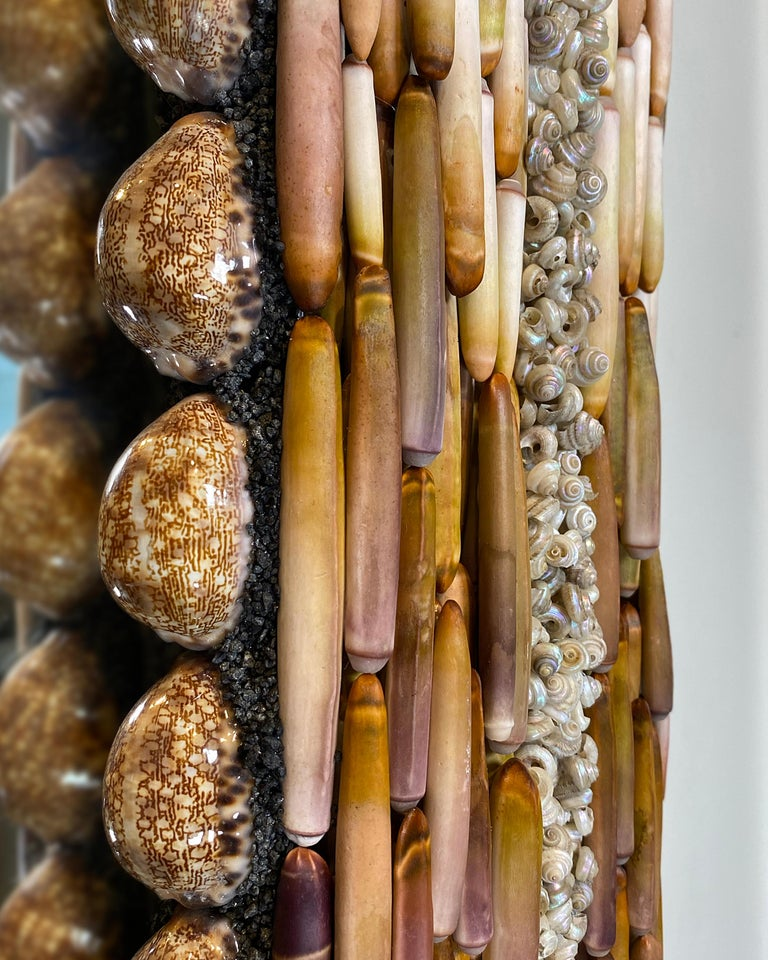 Scandinavian Modern Urchin Pearls, Unique Shell Mirror by Shellman Scandinavia For Sale