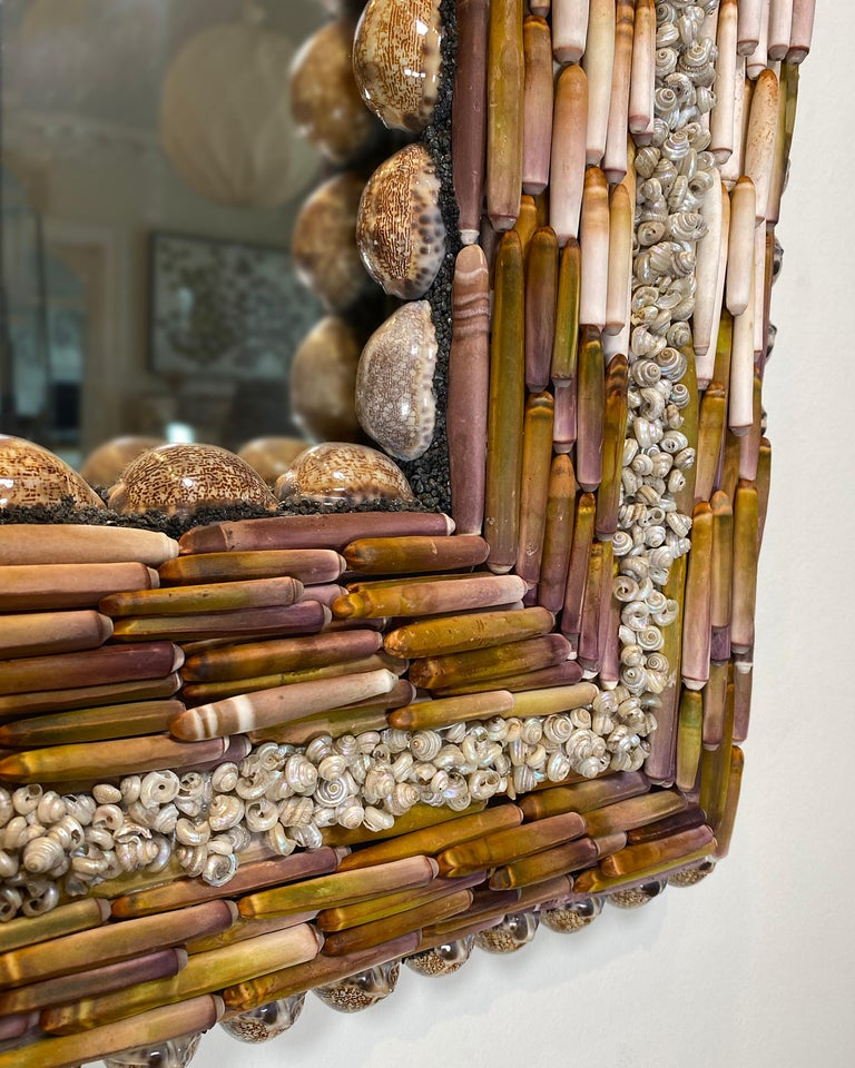 Swedish Urchin Pearls, Unique Shell Mirror by Shellman Scandinavia For Sale