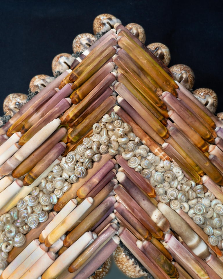 Hand-Crafted Urchin Pearls, Unique Shell Mirror by Shellman Scandinavia For Sale