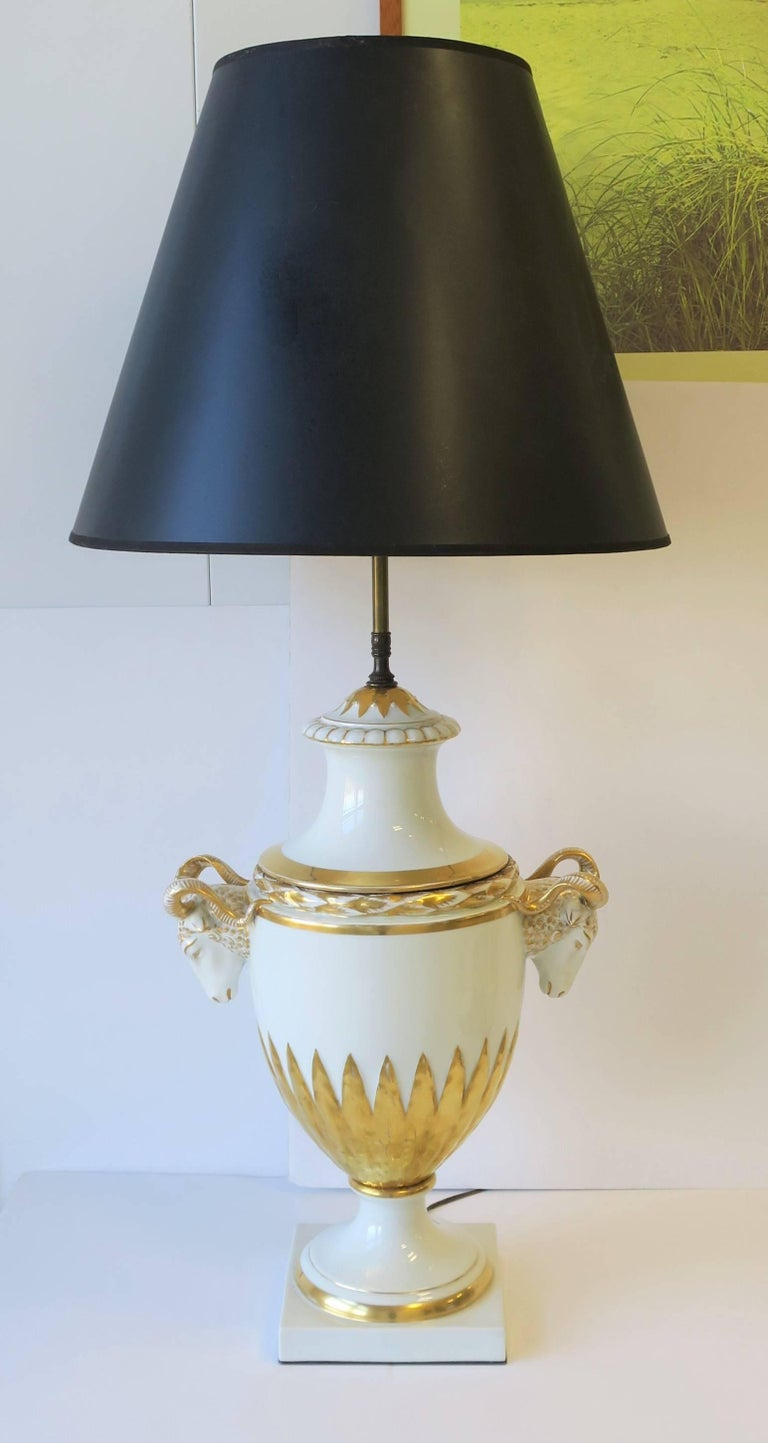 Neoclassical Urn Form Rams Head White And Gold Table Lamp