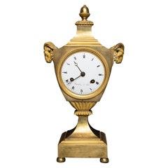 Urn Shaped Louis XVI Period Gilt Bronze Rams Head Clock