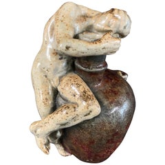 """Urn with Nude Male,"" Transitional Art Nouveau-Art Deco Sculpture by Vibert"