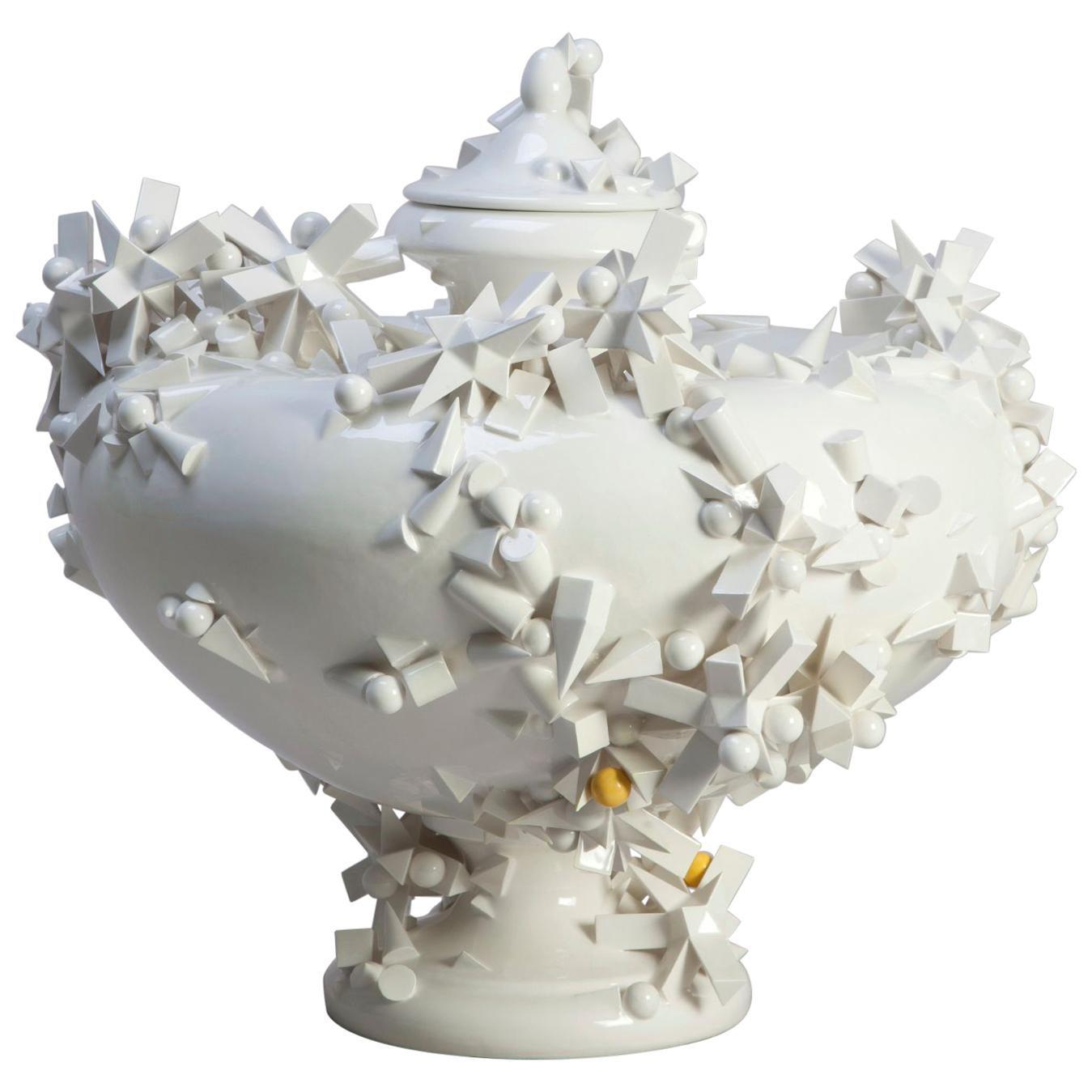 Urn by Andrea Salvatori, White Ceramic Sculpture 21st Century Contemporary