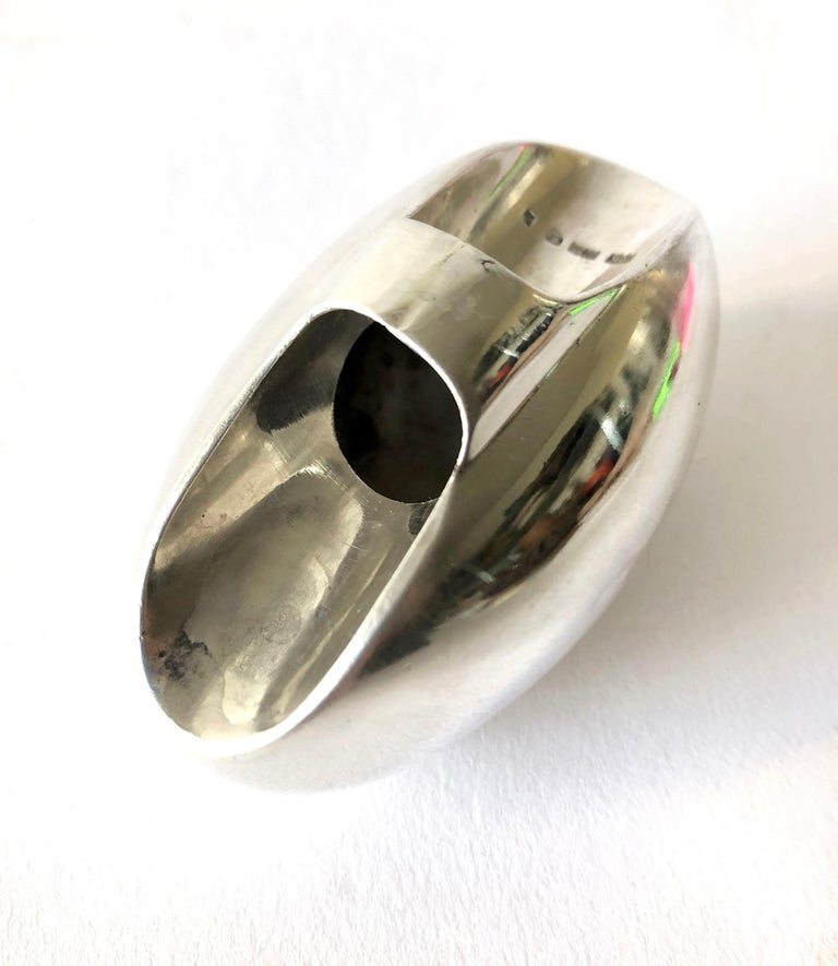 Finish modernist sterling silver egg ring created by Urpo Kajander for Kaunis Koru.  Ring is a finger size 6.5.  Egg measures 2.75