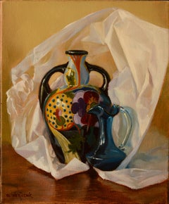 Gouda Vase with Blue Pitcher