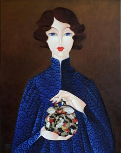Furoshiki Woman in Blue