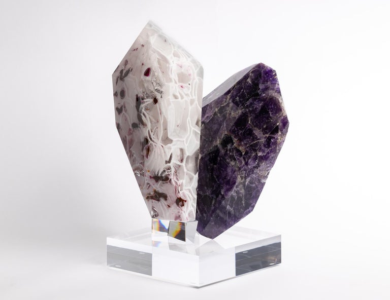 Imaphan- Uruguay´s Amethyst and boil glass fusion sculpture from TYME collection, a collaboration by Orfeo Quagliata and Ernesto Durán  TYME collection  A dance between purity and detail bring a creation of unique pieces merging nature's gems and