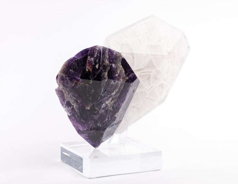 Organic Modern Uruguay Amethyst and Boil Glass fusion Sculpture For Sale