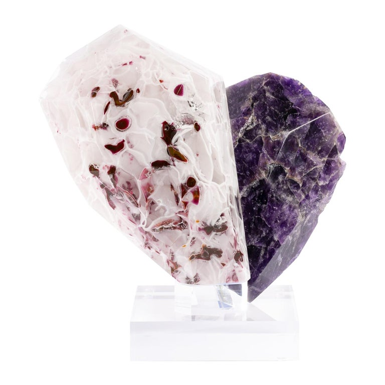 Uruguay Amethyst and Boil Glass fusion Sculpture For Sale