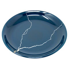 Urushi Laquered Glass Plate 'Tsukroi Blue 2'