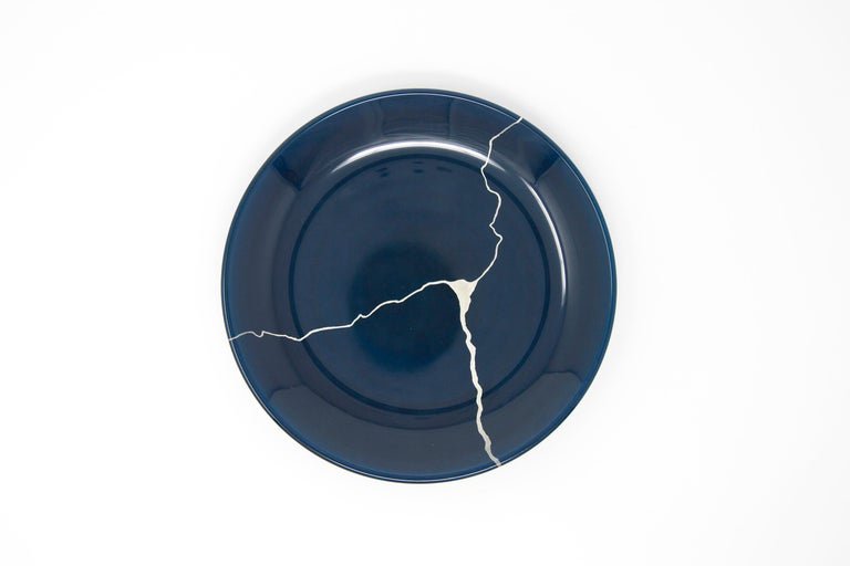 Japanese Urushi Lacquered Glass Plate 'Tsukroi Blue 3' For Sale