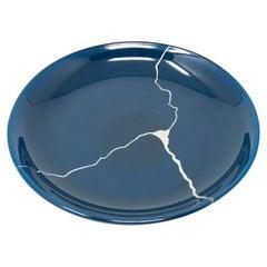 Urushi Lacquered Glass Plate 'Tsukroi Blue 3'